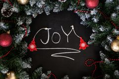 Inscription Happy New Year on black board. Black board with hand inscription Happy New Year with chalk. stock photo