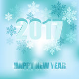 The inscription Happy New Year 2017 on a blue background with sn. Vector Image: Inscription Happy New Year 2017 on a background with snowflakes royalty free illustration