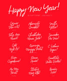 Inscription Happy New Year in different languages Royalty Free Stock Photos