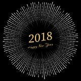 Inscription Happy New Year 2018 with firework around. New Year and Xmas Design Element Template. Vector Illustration Stock Image