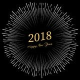 Inscription Happy New Year 2018 with firework around. New Year and Xmas Design Element Template. Vector Illustration Stock Photo