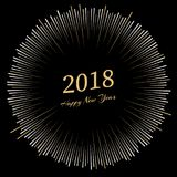 Inscription Happy New Year 2018 with firework around. New Year and Xmas Design Element Template. Vector Illustration Royalty Free Stock Photography