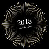 Inscription Happy New Year 2018 with firework around. New Year and Xmas Design Element Template. Vector Illustration Royalty Free Stock Photo