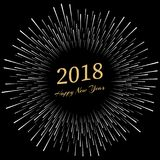 Inscription Happy New Year 2018 with firework around. New Year and Xmas Design Element Template. Vector Illustration Royalty Free Stock Photos