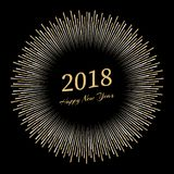Inscription Happy New Year 2018 with firework around. New Year and Xmas Design Element Template. Vector Illustration Stock Photography