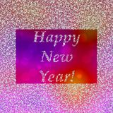 Inscription Happy New Year in frame composed of snowflakes. On red orange purple background Stock Images