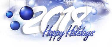 Happy 2018 inscription. The inscription happy new year and holidays with festive decorations Stock Photography