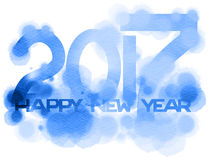 Inscription 2017 Happy New Year isolated on white background. Digital art painting blue color stock illustration