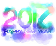 Inscription 2017 Happy New Year isolated on white background. Digital art painting multicolor vector illustration