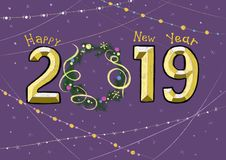 Inscription Happy New Year 2019 stock illustration