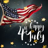 Inscription Happy 4th of July with USA flag. National day stock photography
