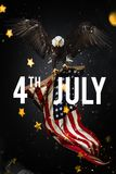 Inscription Happy 4th of July with USA flag. National day royalty free stock images