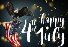 Inscription Happy 4th of July with USA flag. National day royalty free stock photography