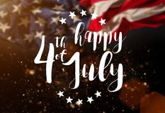 Inscription Happy 4th of July with USA flag. National day stock image