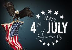 Inscription Happy 4th of July with USA flag. National day royalty free stock image