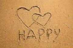 Inscription happy and two hearts Stock Photos