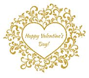 Inscription: Happy Valentine`s day inside the frame in the shape of a heart with a flower pattern. Suitable for greeting card, banner, poster royalty free illustration