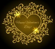 Inscription: Happy Valentine`s day inside the frame in the shape of a heart with a flower pattern. Suitable for greeting card, banner, poster stock illustration