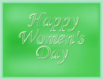 Inscription happy Women`s Day with a blurred green background. Vector illustration.  Royalty Free Stock Images