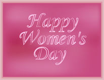 Inscription happy Women`s Day with a blurred pink background. Vector illustration.  Stock Photo