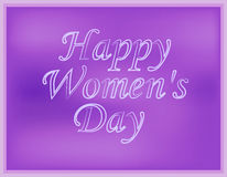 Inscription happy Women`s Day on blurred purple background. Vector illustration Stock Photo