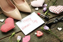 Inscription Happy women`s day stock images