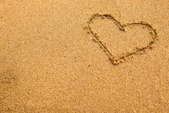 Inscription heart of sand texture. Love. Stock Images