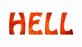 Lettering HELL. Inscription HELL with texture of red and orange lava-like structures stock illustration