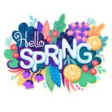 Inscription Hello Spring on background with Colorful Flowers, Leaves and Grass. Floral Banner for Springtime Graphic. Design. Blossoming Bouquet. Vector Royalty Free Stock Photos