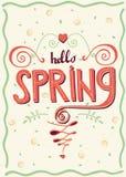 Inscription Hello spring Stock Photo