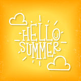 Inscription Hello summer. Vector illustration Royalty Free Stock Photo