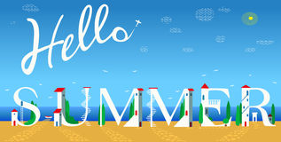 Inscription Hello summer. Vector Illustration Stock Photos