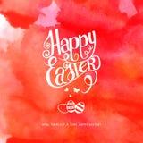 Inscription heureuse d'aquarelle de Pâques Photo stock