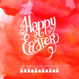 Inscription heureuse d'aquarelle de Pâques illustration libre de droits