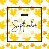 Inscription heureuse de calligraphie de septembre Autumn Banner Template Illustration Libre de Droits