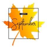 Inscription heureuse de calligraphie de septembre Autumn Banner Template Illustration Stock