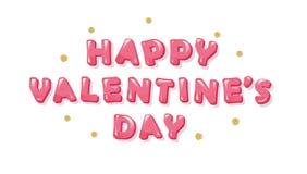 Inscription heureuse de jour de valentines avec des points de polka de scintillement Lettres brillantes roses lumineuses Images libres de droits