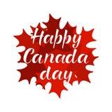 Inscription HEUREUSE de lettrage de JOUR de CANADA Photographie stock libre de droits