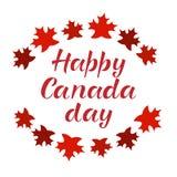 Inscription HEUREUSE de lettrage de JOUR de CANADA Image libre de droits