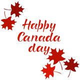 Inscription HEUREUSE de lettrage de JOUR de CANADA Images stock