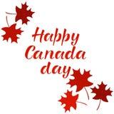 Inscription HEUREUSE de lettrage de JOUR de CANADA Images stock