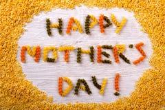 Inscription heureuse de pâtes de jour du ` s de mère Images libres de droits