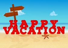 Inscription heureuse de vacances sur le fond tropical de plage À marquer d'une pierre blanche dans le style 3d avec le signe en b illustration de vecteur