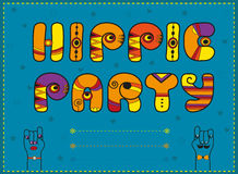 Inscription Hippie Party. Funny orange Letters Stock Photos
