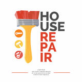 The inscription home repair and realistic brush Stock Photography