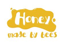 Inscription of honey. On a white background Stock Photos