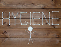 Inscription hygiene And man Made with cotton buds Stock Image