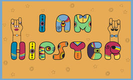 Inscription I am Hipster. Colored letters. Royalty Free Stock Photo