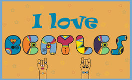 Inscription I love Beatles. Colored Letters Stock Photography