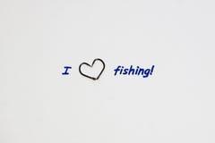 Inscription - I love fishing. Royalty Free Stock Photos